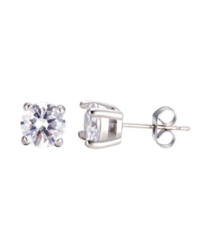 Stainless Steel Clear Round Cubic Zirconia Earrings