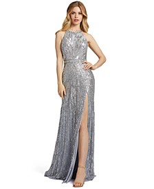 Halter Sleeveless Sequined Gown