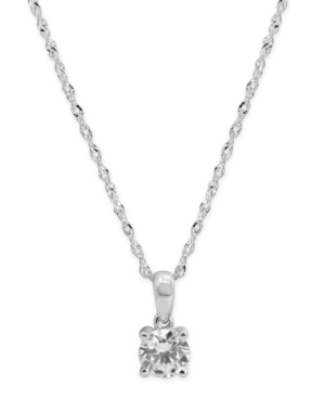 """Cubic Zirconia Solitaire 18"""" Pendant Necklace in 14k White Gold"""