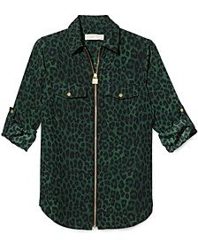 Mega Cheetah-Print Zip Shirt, Regular & Petite Sizes