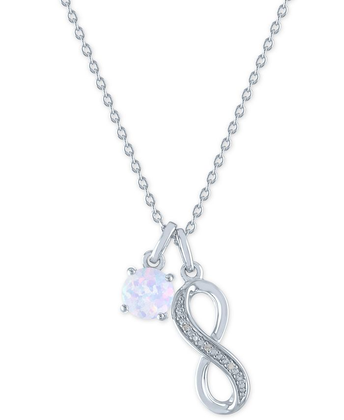 """Macy's - Lab-Created Opal (6mm) & Diamond Accent Infinity Double Pendant Necklace in Sterling Silver, 16"""" + 2"""" extender"""