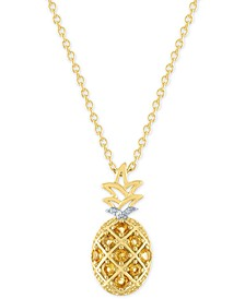 "Citrine (1/3 ct. t.w.) & Diamond Accent Pineapple Pendant Necklace in 14k Gold-Plated Sterling Silver, 16"" + 2"" extender"