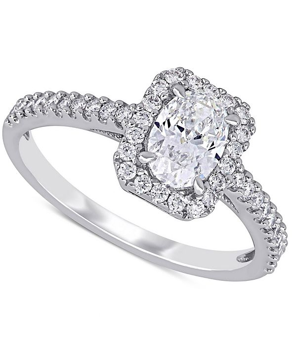Macy's Diamond Oval Center Halo Engagement Ring (1 ct. t.w.) in 14k White Gold