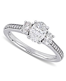 Diamond Oval Three Stone Engagement Ring (1-1/10 ct. t.w.) in 14k White Gold