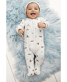 Baby Boys or Girls 2-Pc. Cotton Animal-Print Coveralls & Hat Set