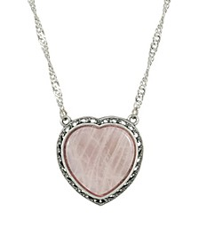 Silver-Tone Semi Precious Rose Quartz Heart Necklace