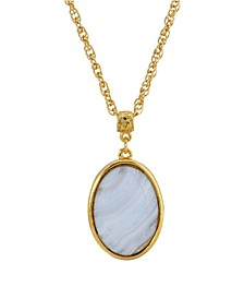 14K Gold Plated Semi Precious Lace Agate Oval Pendant Necklace