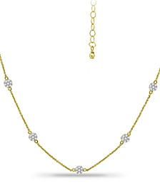 "Cubic Zirconia Mini-Cluster Statement Necklace, 16"" + 2"" extender, Created for Macy's"