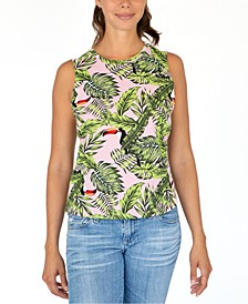 Juniors' Cotton Toucan-Print Tank Top