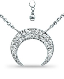 """Cubic Zirconia Crescent Moon Pendant Necklace in Sterling Silver, 16"""" + 2"""" extender, Created for Macy's"""