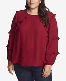 Women's Plus Long Sleeve Tiered Ruffle Blouse