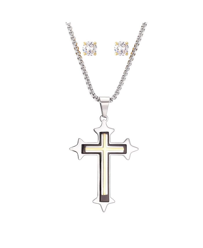 """He Rocks - Stainless Steel Two-Tone Cross Pendant and Gold Tone Square Cubic Zirconia Earring Set, 24"""""""