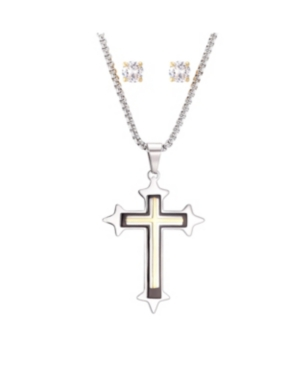 Stainless Steel Two-Tone Cross Pendant and Gold Tone Square Cubic Zirconia Earring Set