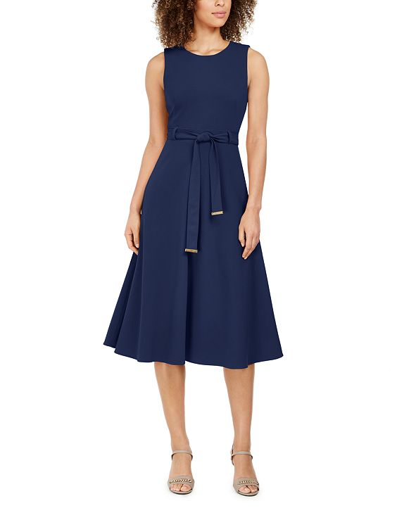 Calvin Klein Belted Stretch Midi Dress