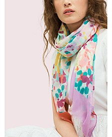 Colorblock Floral Silk Oblong Scarf