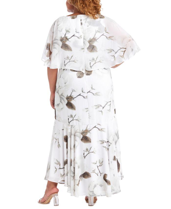 R & M Richards Plus Size Floral-Print Capelet Gown & Reviews - Dresses - Plus Sizes - Macy's