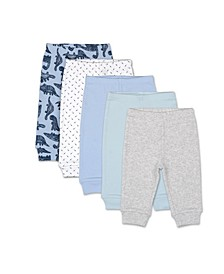 Baby Boys Dinos and Dots 5 Pack Pants