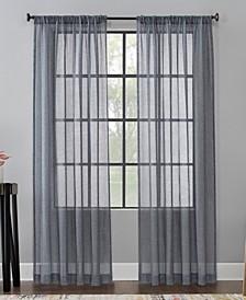 """Celeste 52"""" x 96"""" Textured Linen Blend Sheer Curtain Panel"""