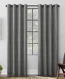 Elkay Woven Geometric Pattern 100% Blackout Grommet Curtain Panel