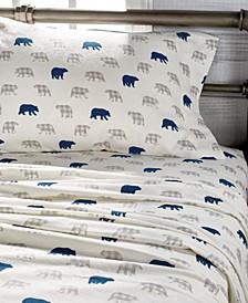 Plaid Bear Print Cotton Flannel Queen Sheet Set