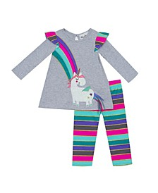Baby Girls 2-Pc. Unicorn Top & Striped Leggings Set