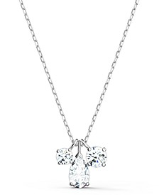 "Silver-Tone Triple Crystal Pendant Necklace, 15-5/8"" + 2"" extender"