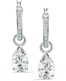 Silver-Tone Crystal Charm Convertible Pavé Hoop Earrings