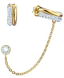 Gold-Tone Crystal Mismatch Hoop & Stud with Chained Cuff Earrings