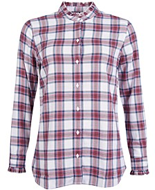 Mayapple Plaid Ruffled-Collar Button-Down Shirt