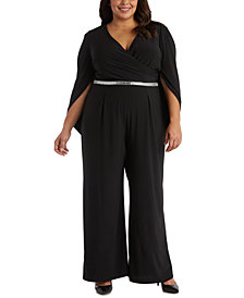 R & M Richards Plus Size Scarf Back Jumpsuit