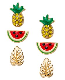 Gold-Tone 3-Pc. Set Pavé Pineapple Stud Earrings