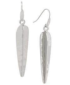 Silver-Tone Large Sculptural Stick Drop Earrings