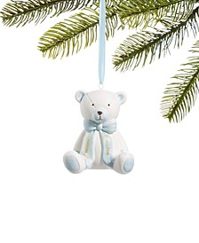 Baby's First Christmas 2020,  Blue Ceramic Bear Ornament, Created for Macy's
