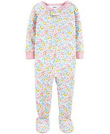 Baby Girls Ditsy Floral-Print Footed Cotton Pajamas