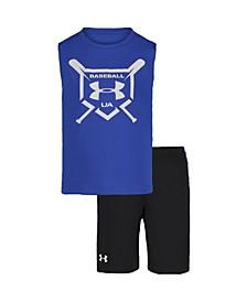 Toddler Boys 2-Pc. Baseball Squad Muscle Short Set