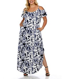 Plus Size Cold Shoulder Tie-Dye Maxi Dress