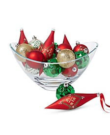 Christmas Cheer Shatterproof Red, Green & Silver Drop and Ball Ornaments, Set of 16, Created for Macy's