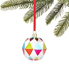 Merry & Brightest Glass Ball with Multi-Colored Diamond Design, Created for Macy's
