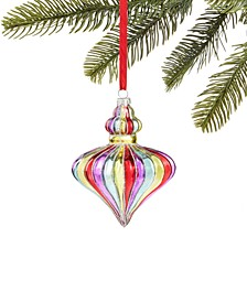 Merry & Brightest Multistripe Glass Drop Ornament, Created for Macy's