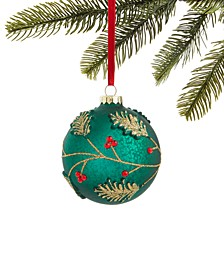 Evergreen Dreams Glass Ball Ornament with Raised Leaves & Jewels, Created for Macy's