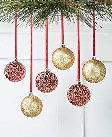 Evergreen Dreams Red & Gold-Tone Shatterproof Ornaments, Set of 6, Created for Macy's