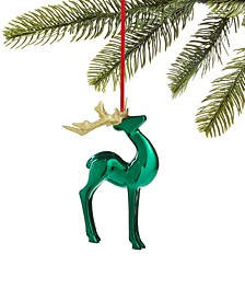 Evergreen Dreams Shiny Green Deer Ornament with Glitter Antlers, Created for Macy's
