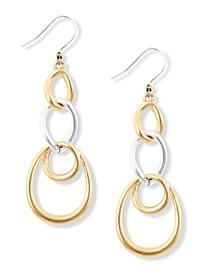 Two-Tone Link Linear Drop Earrings