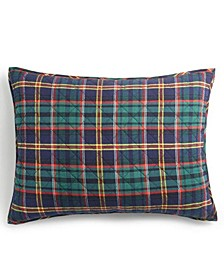 Collegiate Plaid Flannel Quilted King Sham, Created for Macy's