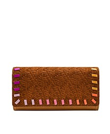 Women's Logan Flap Clutch Vintage-Like Saddle Woven Emboss with Bright Piping