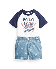 Baby Boy Graphic Tee and Denim Short Set