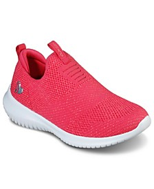Girl's Ultra Flex - Fluorescent Fun Slip-On Sporty Casual Sneakers from Finish Line