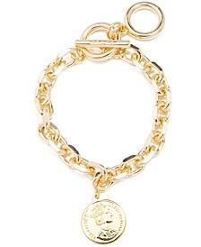 Gold-Tone Coin Charm Link Bracelet