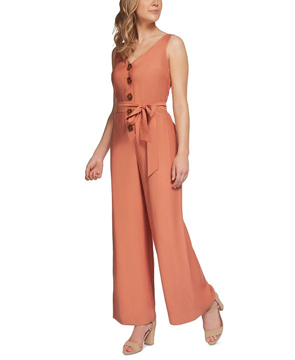 Black Tape Button-Front Belted Jumpsuit