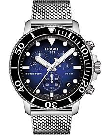 Men's Swiss Chronograph Seastar 1000 Stainless Steel Mesh Bracelet Watch 45.5mm